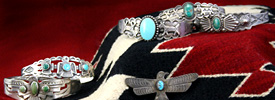 Santa Fe appraiser, Michael Ettema, appraises Native American jewelry, such as the Fred Harvey jewelry shown, along with rugs, blankets, Kachinas, paintings, baskets, pottery and sculpture.